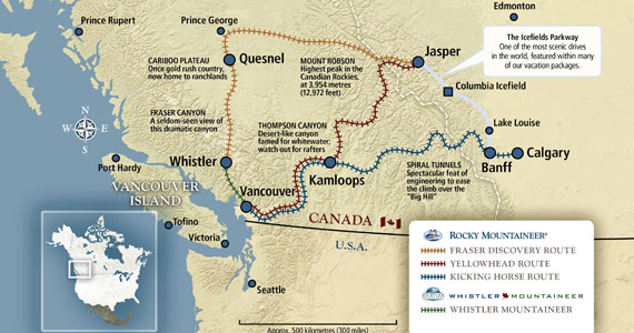 Rocky Mountaineer Rail Map