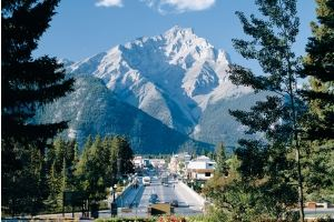 banff avenue in the summer